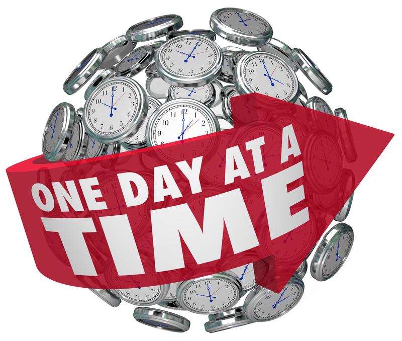 one day at a time clock sphere slow patient progress moving forward